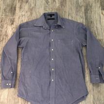 Mens button down shirt Tommy Hilfiger vtg lifetime collar 15m 32-33 blue check M - $22.26