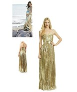 BADGLEY MISCHKA STUNNING GOLD SILK SEQUIN RUNWAY PREGNACY WEDDING DRESS ... - $490.05