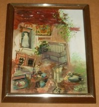 SIGNED ANITA ANTIQUE HOME COLLAGE MIXED MEDIA P... - $191.99