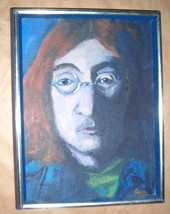 "SIGNED CARA ""UNTITLED"" PORTRAIT JOHN LENNON ACR... - $484.14"