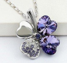 New Swarovski Crystal Lucky Four Leaf Clover Pendant Necklace,  - $10.98
