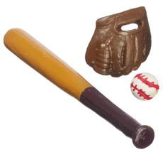 Dollhouse Miniature - Baseball Set - Bat, Ball & Glove 1:12 Scale - $7.99