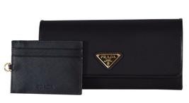 New Prada Women's 1MH132 Black Tessuto Nylon Continental Wallet W/ID Case - $430.65