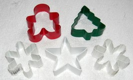 5 METAL WILTON COOKIE CUTTERS CHRISTMAS TREE STAR SNOWFLAKES GINGERBREAD... - $28.53 CAD