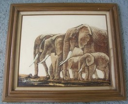 SIGNED FRANK WALCUTT AFRICAN ELEPHANTS ART PAINTING - $267.30