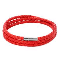 Pugster Snake Charms Snake Chains Snake Bracelets Light Red Leather Brac... - $25.99