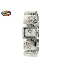 Fossil Es2624 Women Square Steel Watch Silver Steel Bracelet Silver Dial Crystals - $212.85