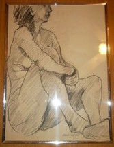 SIGNED HANK WERNER NUDE WOMAN IN POSE #3 CHARCOAL ART - $289.49