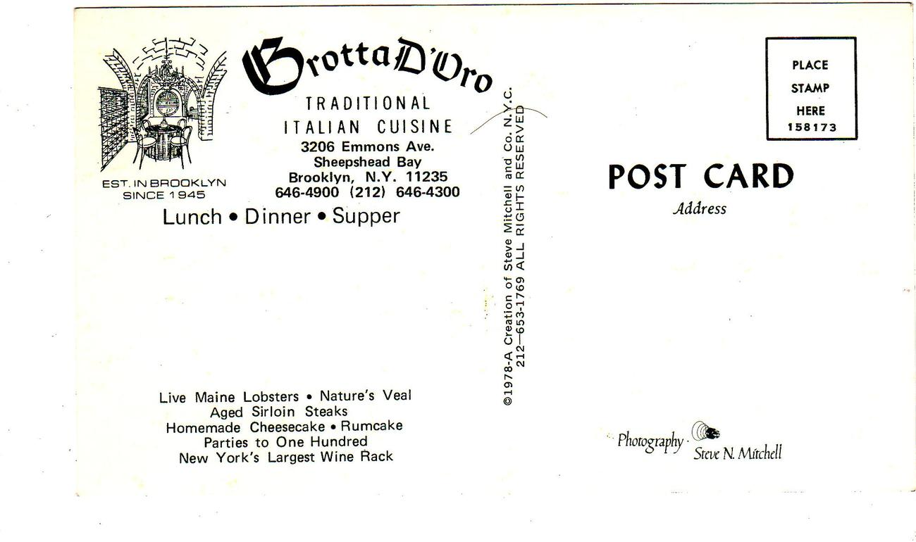 Brotta D'Vro - Sheepshead Bay, Brooklyn, N.Y.(1970's)
