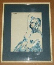 SIGNED IN PRINT HISCH LITHO WOMAN NUDE EUROPE ART PRINT - $222.21