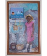 SIGNED J. CATLIN JAMAICA CARIBBEAN ART OIL PAINTING - $484.49