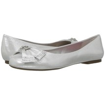 Betsey Johnson Emy Silver Metallic Satin Crystal Bow Flat Shoes 7 NIB - $39.11