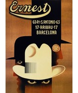 2963.Ernest Barcelona Spain Hat Men Fashion POSTER.Modern Home art decor... - $10.89+