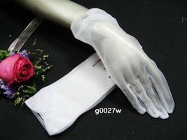 SHEER ORGANZA PEARL BRIDAL GLOVES , RIBBON WRIST WEDDING WOMAN ACCESSORI... - $7.50
