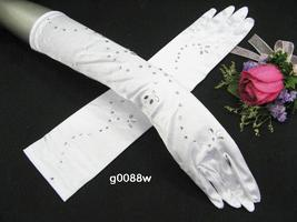 SATIN RHINESTONE BRIDAL GLOVES ,ELEGANCE ELBOW WEDDING WOMAN ACCESSORIES... - $12.50