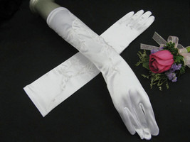 "15"" SATIN EMBROIDERY BRIDAL GLOVES ,ELEGANCE OPERA WEDDING WOMAN ACCESSO... - $8.50"