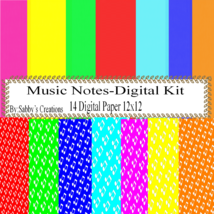 Music Notes 2 Digital Kit-Digtial Paper-Art Clip-Gift Tag-Jewelry-T shirt - $5.00