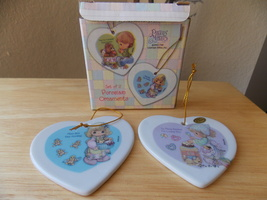 2002 Precious Moments Set of 2 Sweetest Christmas Porcelain Ornaments - $15.00