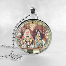 ALICE In WONDERLAND Necklace, King and Queen Of Hearts, Art Glass Pendan... - $12.95
