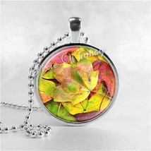 Leaves Necklace Art Pendant Jewelry with Ball Chain, Autumn Leaves, Fall... - $12.95