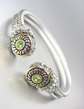 CLASSIC Designer Style Double Silver Cables Peridot Green CZ Crystals Br... - €26,75 EUR