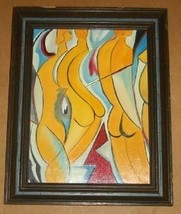 SIGNED M. HYDOCK ABSTRACT NUDE ART POP DECO PAI... - $340.00