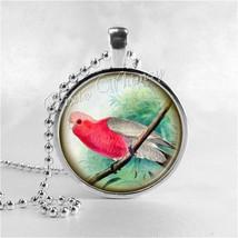 COCKATOO BIRD NECKLACE, Rose Breasted Cockatoo, Galah, Glass Bezel Penda... - $12.95