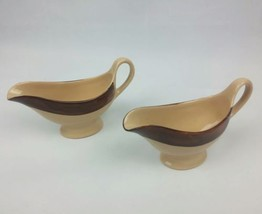2 Shenango China Gravy Boats New Castle PA USA Restaurant Brown Beige P-... - €14,57 EUR