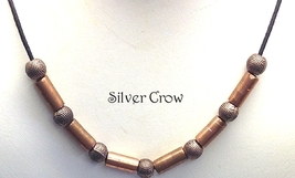 Copper Tube & Bead Black Cord Necklace - $12.99