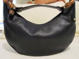 Gucci Black Pebbled Leather Bamboo Ring Hobo - New, Authentic, Gorgeous!!! - $850.00