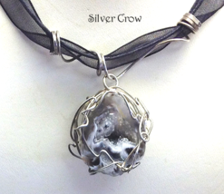 Smoky Gray & White Geode Sterling Silver Wrappe... - $32.99