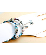 Beaded Handmade Bracelet Set- Blue And Crystal Silver Fashion Jewelry Ac... - $19.50