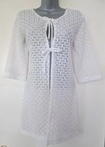 anne cole white sheer crochet boho retro beach cover up dress size small medium - $29.99