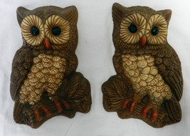 1970's Set of 2 Brown Foam Plastic Resin Owl Wall Art Hanging Figurines ... - $39.17