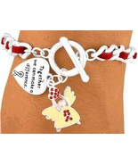 Angel Heart Bracelet Red Ribbon Awareness Suede Austrian Crystal Silver ... - $15.65