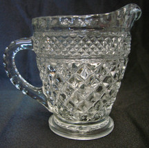 Anchor Hocking Wexford Diamond Glass Dairy Milk Creamer Server Pitcher Vintage - $16.63