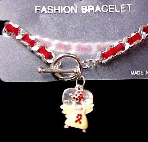 Angel Heart Bracelet Red Ribbon Awareness Suede Austrian Crystal Silver Finish
