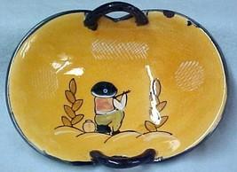 Art Pottery Peach Kneeling Handled Bowl Japan Vintage - $26.43
