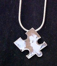"""Autism Puzzle Piece Pendant 18"""" Snake Chain Silver Plated Awareness Necklace - $14.67"""