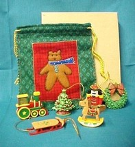Avon Nostalgic Christmas Holiday Tree Sled Train Wreath Ornaments Sack 2... - $19.37