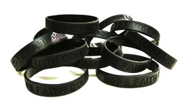 Black Awareness Bracelets 12 Piece Lot Hope Faith Courage Many Cancer Cause New - $12.06