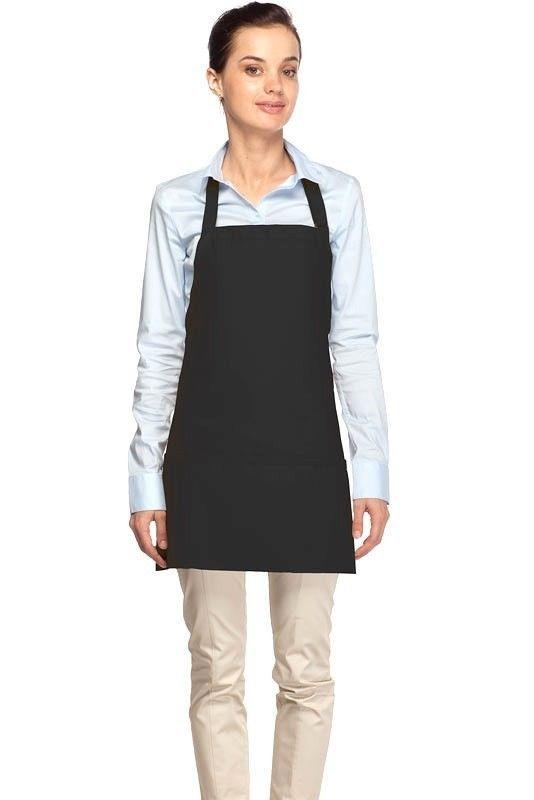 Black Bib Apron 3 Pocket Craft Restaurant Baker Butcher Adjustable Neck USA New