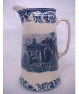 Blue Transferware Victorian Porcelain China Castle Tall Pitcher Collecti... - $22.28