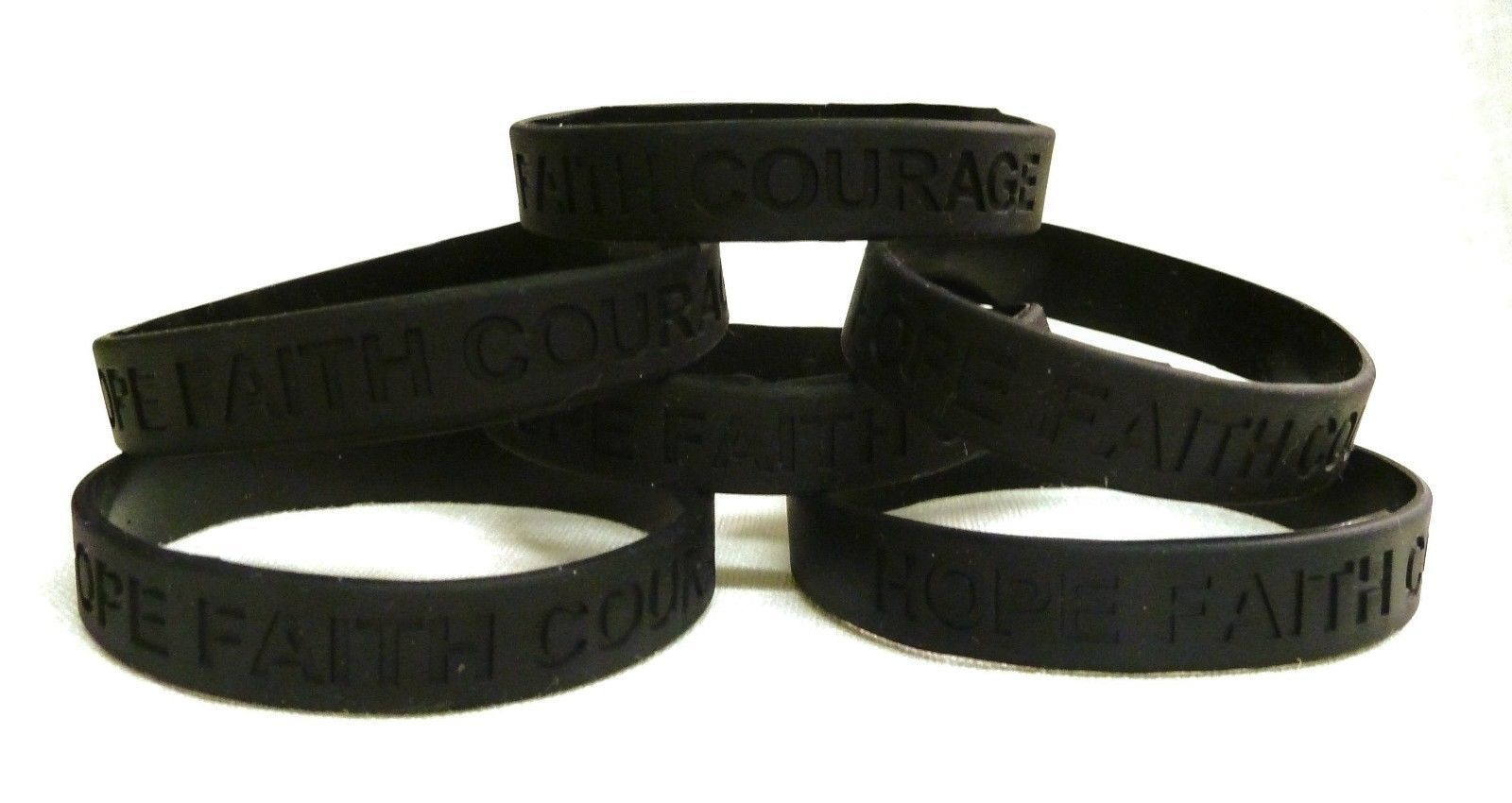 Primary image for Black Awareness Bracelets 6 Piece Lot Hope Faith Courage Many Cancer Cause New