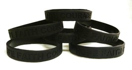 Black Awareness Bracelets 6 Piece Lot Hope Faith Courage Many Cancer Cau... - $9.97