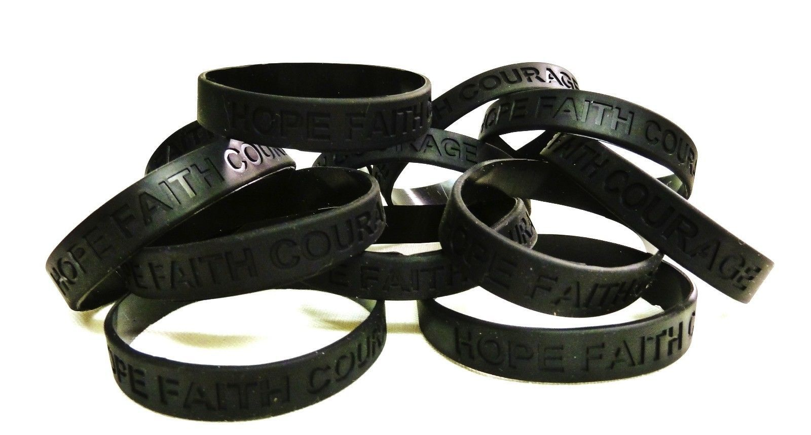 Black Awareness Bracelets 100 Piece Lot Hope Faith Courage Many Cancer Cause New