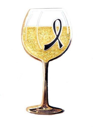 Black Ribbon Lapel Pin Sparkling White Wine Glass Cancer Cause Awareness New image 3