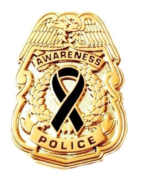Primary image for Black Awareness Ribbon Pin Police Badge Officer Sheriff Cop Cancer Causes New G
