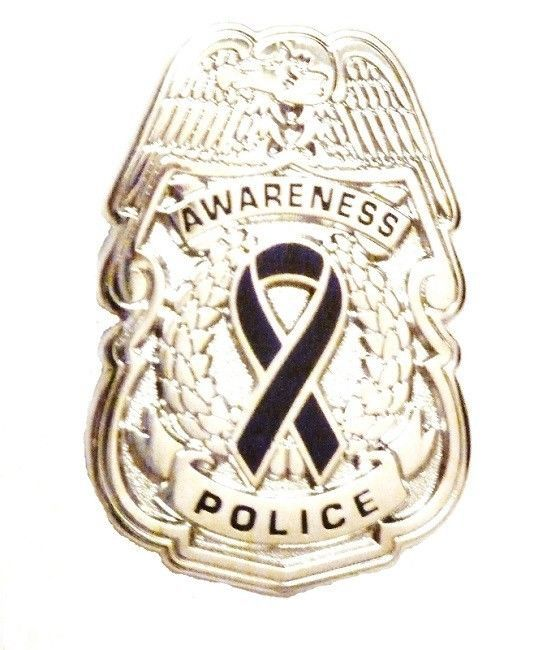 Black Awareness Ribbon Pin Police Badge Officer Sheriff Cop Cancer Causes New N