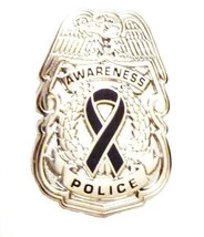 Black Awareness Ribbon Pin Police Badge Officer Sheriff Cop Cancer Cause... - $13.97
